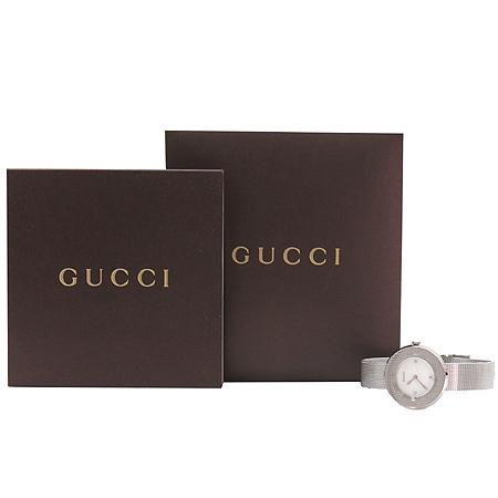 Gucci(구찌) 129.5 자개판 3포인트 다이아 스틸 쿼츠 여성용 시계 이미지2 - 고이비토 중고명품