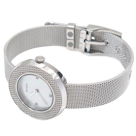Gucci(구찌) 129.5 자개판 3포인트 다이아 스틸 쿼츠 여성용 시계 이미지3 - 고이비토 중고명품