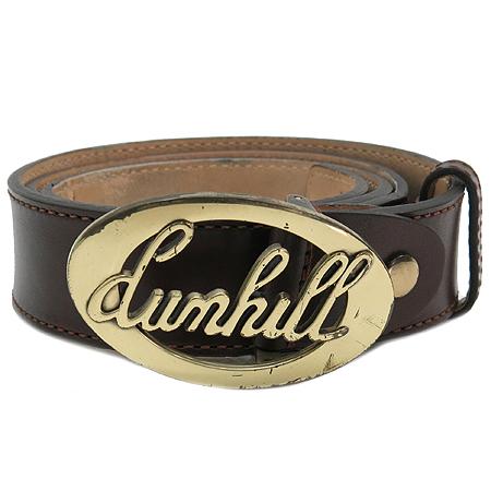 Dunhill(던힐) 브라운 래더 금장 로고 버클 남성용 벨트