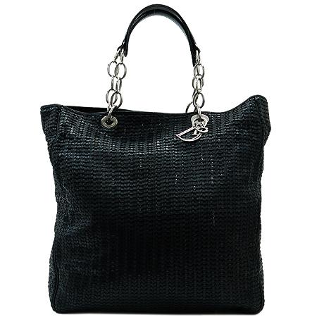 Dior(크리스챤디올) 로고 장식 블랙 페이던트 트리밍 위빙 레더 토트백