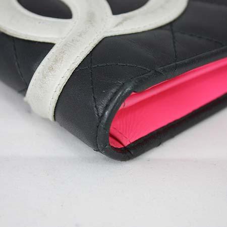 Chanel(샤넬) A26717Y01669 깜봉 블랙 레더 화이트로고 스티치 장지갑