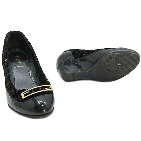 Fendi(펜디) 금장 로고 장식 로고 벨뱃 웨지힐 여성용 구두