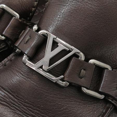 Louis Vuitton(루이비통) 브라운 레더 은장 LV로고 장식 남성용 로퍼