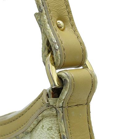 ALVIERO MARTINI(알비에로 마르티니) 금장 로고 PVC 뱀피 패턴 레더 트리밍 호보 숄더백