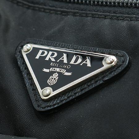 Prada(프라다) 은장 로고 장식 블랙 패브릭 멀티 포켓 크로스백
