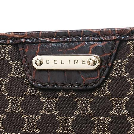 Celine(셀린느) 블라종 로고 크로커다일 패턴 레더 트리밍 쇼퍼 토트백