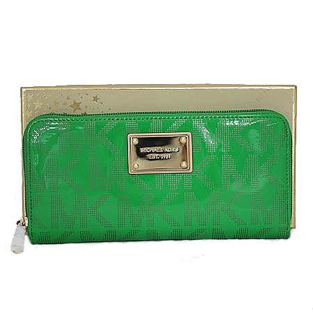 MICHAELKORS(마이클코어스) 로고 에나멜 그린 금장로고 플레이트 지피월릿 장지갑