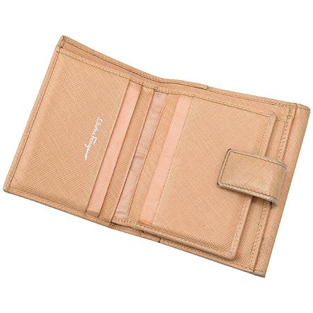 Ferragamo(페라가모) 22 5063 에프리캇 사피아노 은장간치니 장식 2단 반지갑
