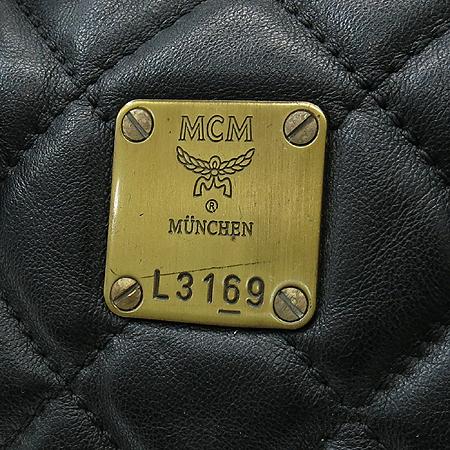 MCM(엠씨엠) 1011064010303 퀼팅 블랙 레더 보스턴 토트백