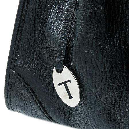Tod's(토즈) 블랙 레더 은장 로고 장식 토트백