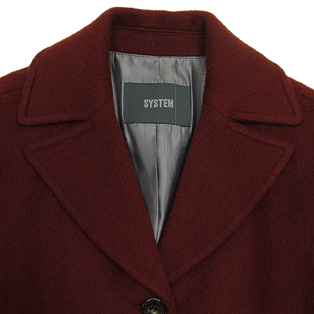 System(시스템) 다크 레드 컬러 코트(허리끈 SET)