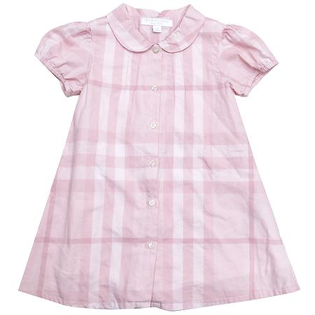 Burberry(버버리) 아동용 핑크 컬러 체크 반팔 원피스