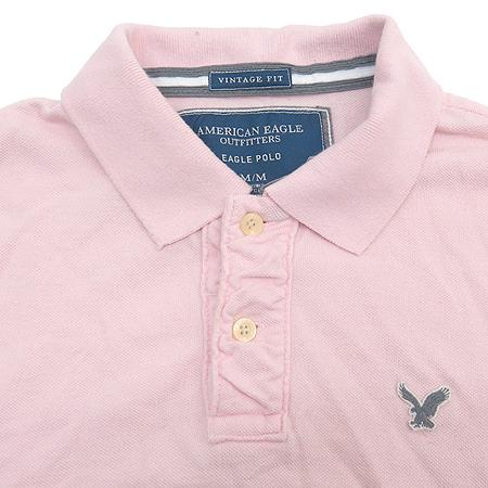 americaneagle(아메리칸이글) 빈티지 핏 핑크 컬러 반팔 카라 티