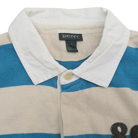 DKNY(도나카란) 베이지 스카이블루 컬러 스트라이프 패턴 카라 티