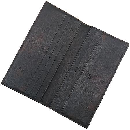 Dunhill(던힐) 은장 로고 블랙 레더 장지갑
