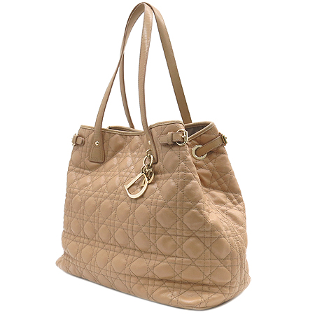 Dior(크리스챤디올) 이니셜 로고 베이지 퀼팅 까나쥬 쇼퍼 숄더백