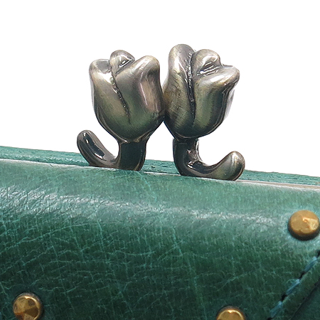 Anna Sui(안나수이) 그린 레더 3단 반지갑