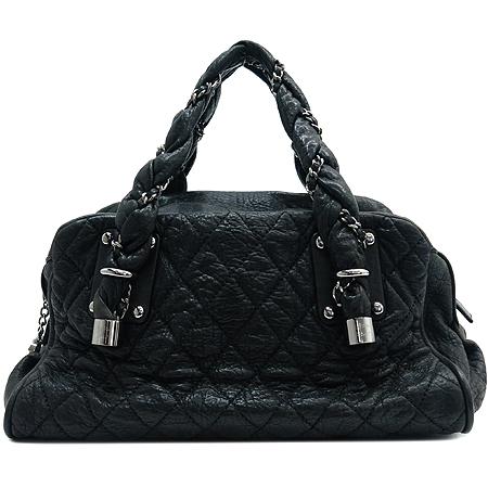 Chanel(샤넬) 블랙 퀼팅 스티치 레더 볼링 토트백