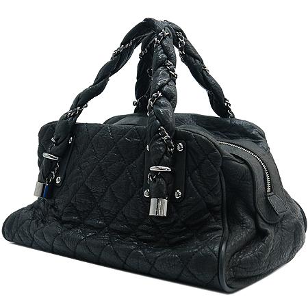 Chanel(샤넬) 블랙 퀼팅 스티치 레더 볼링 토트백 이미지2 - 고이비토 중고명품