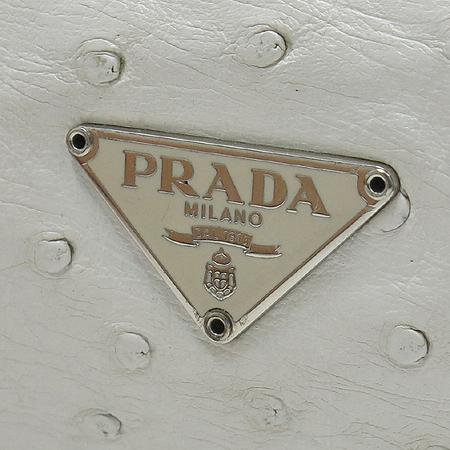 Prada(프라다) 화이트 오스트리치 레더 비쥬 장식 숄더백