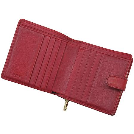 Loewe(로에베) 레드 레더 로고 플레이트 중지갑
