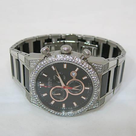 PATRON(패트론) PR201202M 스와로브스키 장식 크로노그래프 남성용 메탈 시계 [일산매장]