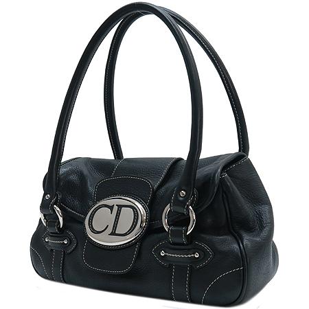 Dior(크리스챤디올) 블랙 레더 은장 로고 숄더백 [인천점]
