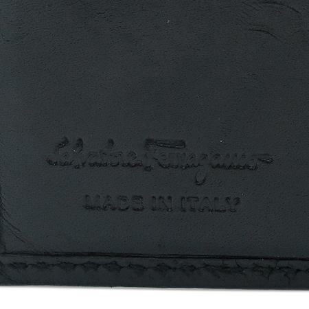 Ferragamo(페라가모) 66-9295 블랙 간치니 로고 레더 남성 반지갑