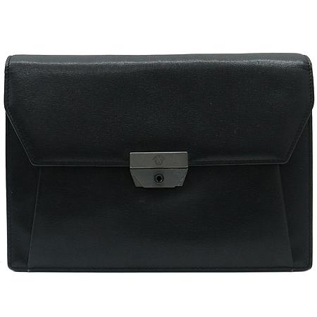 Versace(베르사체) 로고 터치 버클 블랙 레더 세컨드백