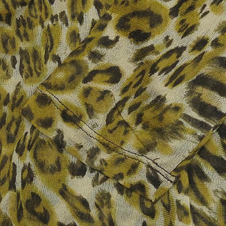 Escada(에스까다) LAUREL 다크 옐로우 컬러 실크 호피 패턴 브이넥 티