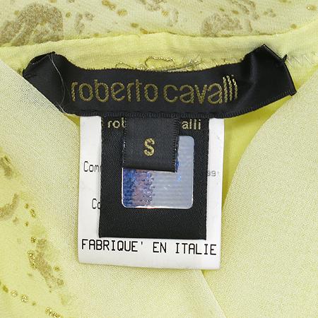 Roberto Cavalli(로베르토 카발리) 옐로우 컬러 실크 혼방 브이넥 반팔 티