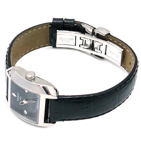 TISSOT(티쏘) TKO1881 은장 라운드 사각 블랙 가죽밴드 시계