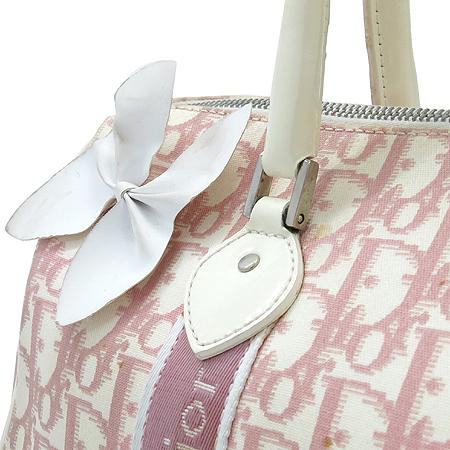 Dior(크리스챤디올) 핑크 캔버스 로고 플라워 큐빅 장식 보스톤 토트백
