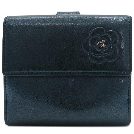 Chanel(샤넬) A46507 네이비레더 까멜리아 2단 반지갑