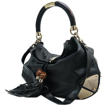 Gucci(구찌) 177088 뱀부 테슬 장식 블랙 레더 인디백 2WAY