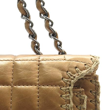 Chanel(샤넬) 브론즈 레더 초코바 은장 체인 숄더백