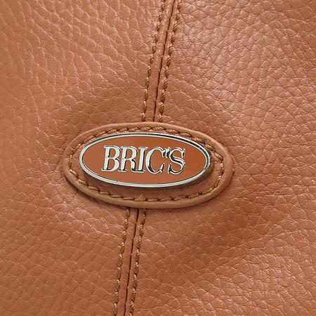 BRIC'S(브릭스) 라운드 로고 브라운 레더 쇼퍼 숄더백 + 크로스 스트랩