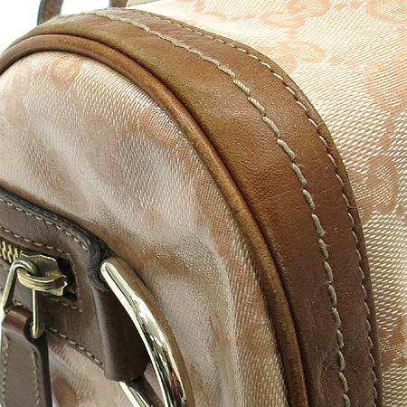 Gucci(구찌) 181485 금장 리본 장식 PVC 브라운 레더 스티치 원통 토트백