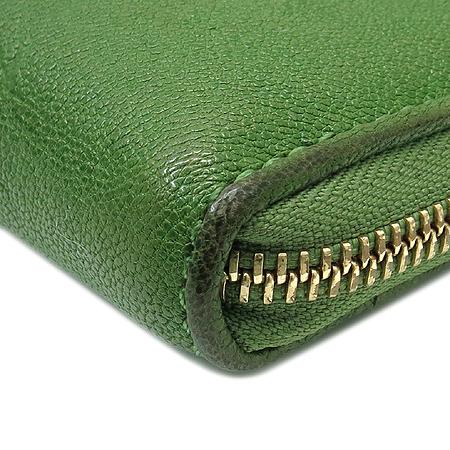 MICHAELKORS 은장 로고 장식 그린 레더 짚업 장지갑