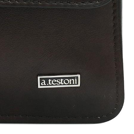 A.testoni(테스토니) BU08209 브라운 레더 메신저 크로스백