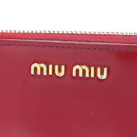 MiuMiu(미우미우) 레드 컬러 레더 짚업 장지갑