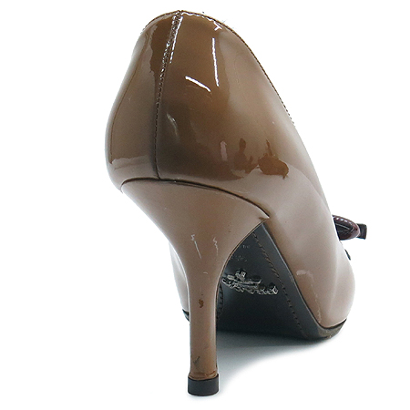 Prada(프라다) 브라운 페이던트 리본장식 여성용 구두