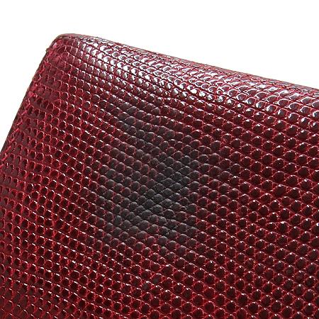 Hermes(에르메스) 은장 로고 리자드(도마뱀 가죽) 베안 장지갑