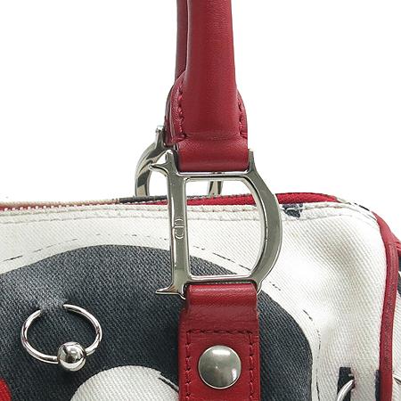 Dior(크리스챤디올) POP44009 로고 패브릭 스타 체인 장식 보스톤 토트백