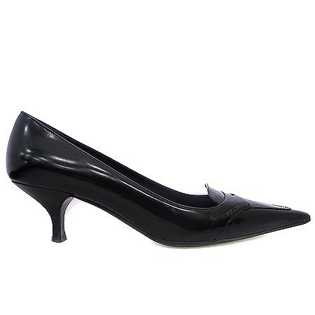 Prada(프라다) 블랙 레더 측면 각인 여성용 구두