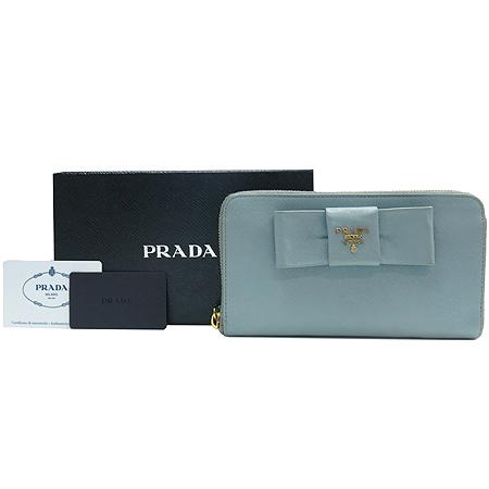 Prada(프라다) 1M0506 금장 로고 리본 장식 사피아노 짚업 장지갑