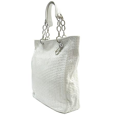 Dior(크리스챤디올) 화이트 레더 은장 로고 장식 위빙 토트백