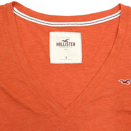 HOLLISTER(홀리스터) 오렌지 컬러 브이넥 티