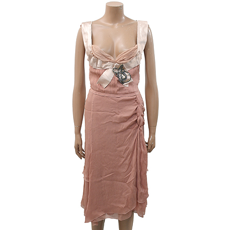 Prada(프라다) 핑크 베이지 컬러 실크 원피스