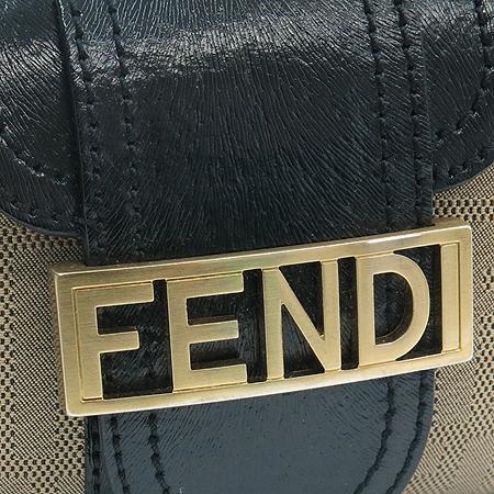 Fendi(펜디) 8BR396 금장 이니셜 스터드 장식 패브릭 블랙 레더 숄더백